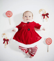 fashion children Christmas party dress /clothing set . red long sleeve blouse + pants. cute xmas kid girls outerwear
