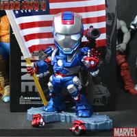 Q Version Marvel Iron Man 3 Gun Mark 42 PVC Action Figures Model Tonny Kids Children Toys Voice Led Flash Dolls 15cm Best Gift