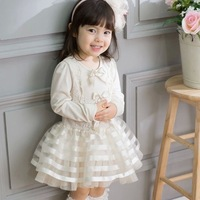 2014 Autumn New Arrival ! Explosions! Bow Princess Ball Gown Grils Dress Long Sleeve Pure Color Children Dress RU