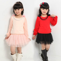 2014 new autumn - summer children's clothing girl dress set t shirts & dress 2 pcs for 7-14 years old girls clothes sets