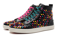 2014 women and men sneakers high quality red bottom colorful rivets sneakers high  top brand designer sneakers for women and men