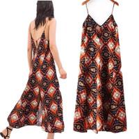 Fashion Women Zara2014 Summer Maxi Dress Hem Split  Geometric Pattern Print Dress Backless Spaghetti Straps Beach Dress