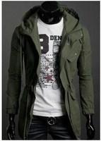 Free Shipping New Slim Designed Men's Hooded Jacket Coat,long Trench coat