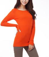 2014 winter Slim round collar mid-long render sweater women's casual sweater W4263