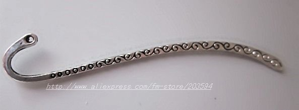 Free Shipping 250pcs gift bookmark Tibetan Silver bookmark with loop 86x13mm(China (Mainland))