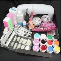 Free Shipping Pro Nail Art 9W UV Gel Lamp Brush Nail Art Tips Kits Tool & Electric File Drill