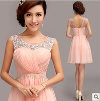 A-line One Shoulder Knee-length Chiffon Crystal Bridesmaid Dress pink 2014 new style Bridesmaid Dresses 282