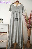 New 2014 Summer New Short-sleeved Dress Irregular Hem Pure Modal Latest Printing Short-sleeved Dress Women Eiffel Tower