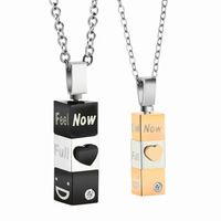 360 Degree Rotation Of Three-Dimensional Jewelry Stainless Steel Black&Plating Rose Gold Lovers Pendant Necklace, Inlaid Crystal