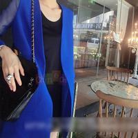 Women Clothes Blue Outerwear Blazer Yarn Sleeve Medium-long Jacket Elegant Suit New Arrival On Sale