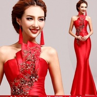 red Embroidery mermaid Celebrity Dresses 2014 Romantic tube Evening Dress 5516 Free ship