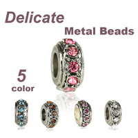 European Alloy Delicate Metal Rhinestone Bead and Pendant Fits for DIY Jewelry Making Pandora Charms Bracelet & Bangles