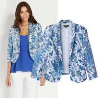 2014 Elegant New Retro Print Slim Sleeve Suit New Fashion Europe & America Women Blazers Female chaquetas mujer Free Shipping