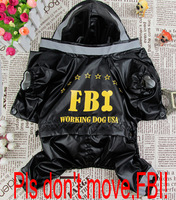 2014 new hot sale fashion pet clothing dog FBI raincoat four sizes S-XL for cat puppy dog clothes Free shipping