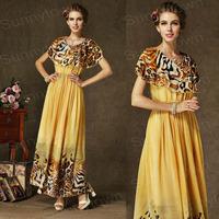 New Fashion 2015 Summer Autumn casual dresses Women Ruffles Gradient long maxi Leopard Dress Cape Design Holiday Dresses party
