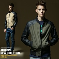 fashion casual cheap jacket for men original male PU patchwork coat spring autumn high quality men's leather jacket