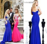 2015 Tarik Ediz Crystal Mermaid One-shoulder Zipper Back Applique Beads Sweep Train Evening Dresses Prom Celebrity Gowns Dress