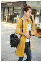 autumn women's medium-long sweater cape slim long-sleeve cardigan1799