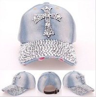 2014 New Retail Luxurious Cowboy Women Baseball Cap Hat Rhinestone Print Diamond Point Cap