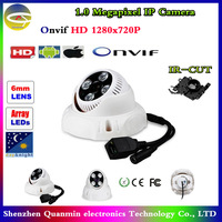 Onvif 1280*720P HD 1.0MP Mini Dome IP Camera,IR Night Vision ip cam,P2P Plug Play,Network Security CCTV camera