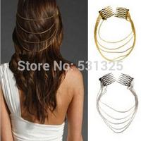 new 2014 Fashion Punk Hair Cuff Pin Clip 2 Combs Tassels Chains Head Band Silver/Gold