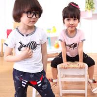2014 Children Boys Girls Cartoon ZEBRA Print Short Sleeve T-shirt Top Stripes 2-6 Years White/pink