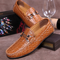 New Arrival 2014 Autumn handmade leather men Flats soft driving shoes comfortable loafers business men's casual sneakers