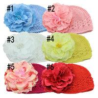 Winter Warm Cute Baby cap Accessories Girl Infant Toddler Hand Crochet Beanie knitted Hat + Flower Clip Cap