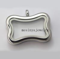 10pcs magnet closure Stainless steel plain dog bone glass locket for floating charms keepsake xmas gift mother's gift