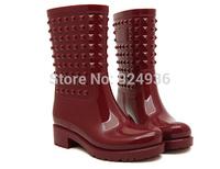 Free Shipping 2015 Rain Boots Women Shoes Water Shoes Knee-high Rivets Rain Boots Street Fashion Rainboot Riding Plus Size