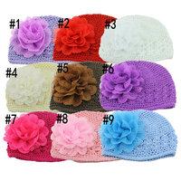 2014 new fashion Cute Toddlers Girls Baby Beanie Hat Handmade Flowers Accessories Crochet Knitting Cap elastic for hair