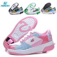Top quality NEW 2014 automatic one wheel children roller skates boy and girls sport casual shoes kids sneakers Size 30-39