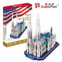 Promotion Gift Cubic Fun 3D Puzzle Saint Patrick's Cathedral (U.S.A) DIY Puzzle MC103h