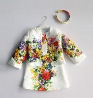 Top Quaity 2014 winter designer children cloak coat Italy brand girls dobby coat floral kids outerwear girls' jackets 2-12Y