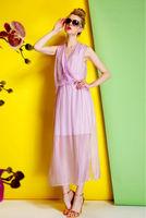 Silk Chiffon Dress-1742/Fashion Women Party Dresses/2014 Summer New Desigual Bohemian Long Dress/S,M,L
