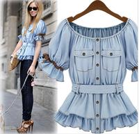 Street Summer Fashion Lady Lantern Sleeve Tunic Slash Neck Cute Casual Cotton Bowknot Blouse Shirt Tops For Women Blue Free Ship
