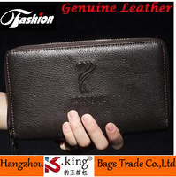 2014 Double Zipper Cowhide Genuine leather Brand Wallet , Carteiras Masculinas Design Clutch Bags Billeteras Mujer