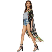 2014 new fashion floral printed chiffon in perspective Kimono kimono sleeve cardigan-free buckle chiffon shirt haoduoyi