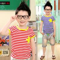 free shipping  2014 summer children's clothing pentastar stripe child baby child male short-sleeve T-shirt 7553