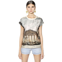 2014 summer new fashion pattern print double-sided printing Greek temple female short-sleeved T-shirt haoduoyi