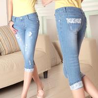 2014 female denim capris skinny pants pencil pants female trousers