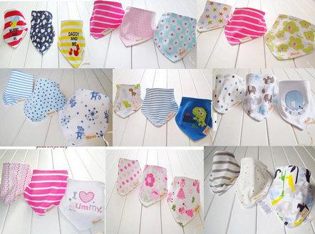 3pcs set baby bibs 3designs mixed infant saliva towel 100% cotton Original brand(China (Mainland))