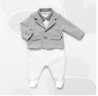 infantis bebe 2014 Autumn New  yes baby boys clothing set gentleman suit with white rompers full sleeves  2 pcs set Retail