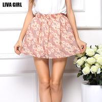 2014 summer hot short skirts fashion Floral Women Skirts Chiffon skirt
