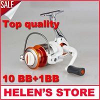 Free shipping 3000-7000 series 11 Ball Bearings fishing reel spinning reel Collapsible metal Handle metal spool
