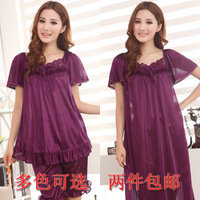 Free shipping plus europe size XXL XXXL 4XL 5XL 6XL Summer home clothing sleepwear lace chiffon nightgown set womens nightwear