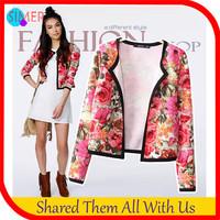 New Fashion 2014 Short Outerwear Coat Slim Jackets Women's High Street Print Casual Jackets casacos femininos Free Shipping