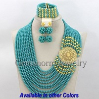 Fantastic Teal Nigerian Wedding Beads Jewelry Set African Crystal Bridal Jewelry Set Gold Plated Free shipping GS259