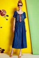 Cotton Dress-1744/Fashion Women Casual Dresses/2014 Summer New Desigual Preppy Style Long Dress/S,M,L