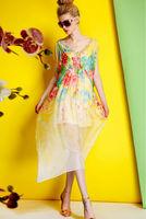 Silk Chiffon Dress-1745/Fashion Women Hawaii Dresses/2014 Summer New Desigual Bohemian Long Dress/S,M,L